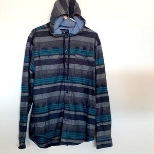 Billabong Button up Hooded Shirt L
